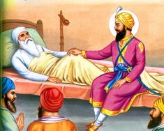 Guru Hargobind saheb ji with Baba Buddha ji before he passed away. Baba Buddha ji had served the first Guru to the sixth Guru. In fact, the sixth Guru Hargobind sahebji were a result of Baba Buddha ji's blessing to Guru Hargobind's mother.