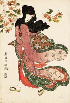 blackcoffeecinnamon:  Utagawa Toyokuni I (1769-1825) 歌川豊国 Beauty under Maple and Ginkgo Leaves, 1811