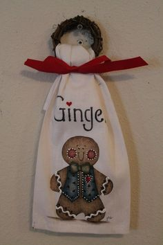 Gingerbread Decorative TowelGrapevine WreathHome by CraftsByJoyice, $9.95