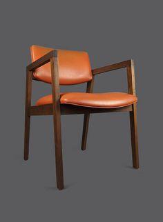 Mid Century Wooden Armchair United Chair Company USA Orange