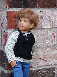 OOAK-Hand-Knitted-Sweater-with-Henley-Neckline-for-slim-Kidz-039-n-039-Cats-boy-dolls