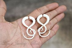 Beautiful Twin Twist Tribal Style Fake Gauge Bone by ayujewelry, $17.50 #Etsy #TribalEarrings #TribalStyle #TwinTribal