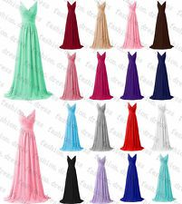 2016 New Long Chiffon Bridesmaid Gowns Formal Party Prom Evening Dress Size 6-20