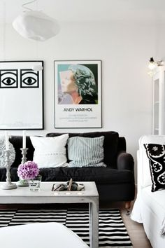 Chic living space on pinterest lucite furniture chic for Black and white with a pops of color bedroom ideas