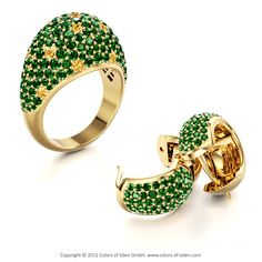 Yellow Gold Jewelry - Pathos Ring and Cocoon Earrings with Tsavorite Garnet and Yellow Sapphire