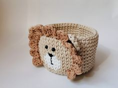 Crochet Bear, Crochet Home, Hand Crochet, Safari Nursery, Nursery Decor, Crochet Basket Pattern, Crochet Patterns, Knitted Animals, Crochet Accessories