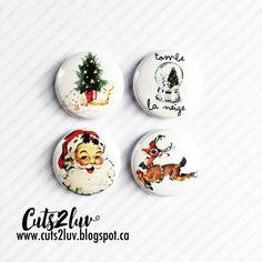 4 Badges 1 Noël vintage par Cuts2luv sur Etsy Cardmaking, Decorative Plates, Etsy, Scrapbook, Badges, Projects, Crafts, Design, Home Decor