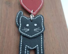 Kitty Kat leather cat key chain bag charm - Edit Listing - Etsy Cat Keychain, Key Chain, Kitty, Charmed, Drop Earrings, Stone, Bag, Leather, Handmade