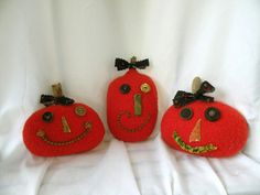 Halloween Pumpkin Trio Primitive Pumpkin Ornies by Handofbelapeck, $22.50