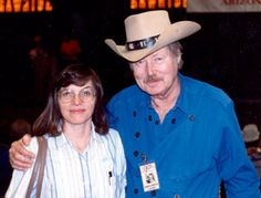 """WESTERN CLIPPINGS' Donna Magers with John Smith (""""Laramie"""") at the first Festival of the West in Scottsdale, AZ.  [1991?]"""