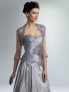 Strapless Taffeta Dress With Matching Lace Bolero Jacket