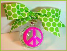 Hand Painted Christmas Ornament Peace Sign Personalized