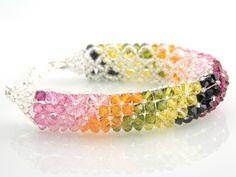 Graduated Rainbow Swarovski Bracelet-one of a kind jewelry, unique jewelry, beadwoven jewelry, beadwoven bracelets, swarovski crystal bracelets, gifts for her