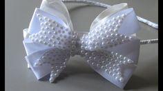 Laço para batismo ou casamento -Tie for Baptism or Marriage Ribbon Art, Ribbon Hair Bows, Diy Hair Bows, Diy Bow, Diy Ribbon, Ribbon Crafts, Diy Headband, Headbands, Bow Making Tutorials