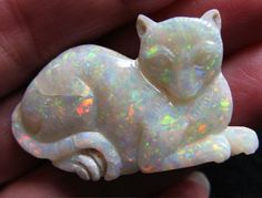 CARVED OPAL CAT, beautiful.