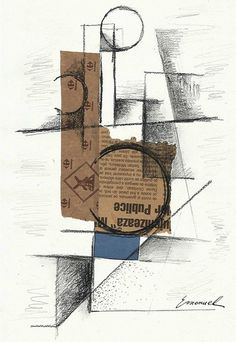 Original Sketch Cubist Drawing Europe Art Collage Mixed Media Signed E Ologeanu #Asian