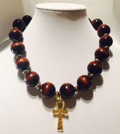 Large wood beaded necklace, ankh pendant necklace, wood bead necklace, african necklace, african wood ankh necklace, necklace