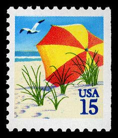 This sun 'n' sand 15-cent stamp was issued in Florida in 1990 as a response to consumers' requests for postcard-rate stamps in convenient $3 booklets.