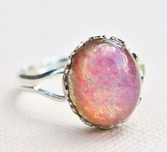 SALE Vintage Fire Opal Ring,Silver Adjustable Band,Vintage Glass Harleuqin Opal,Pink Opal,Opal Ring,Opal Jewelry,Birthstone,Shabby Chic