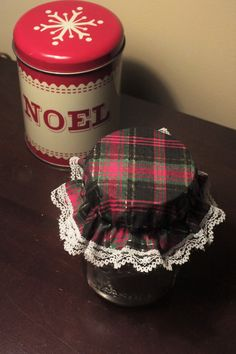 6 Black Gold and Red Christmas Plaid Mason by KathysHeartCreations
