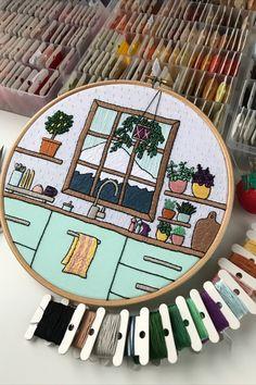 Diy Embroidery Thread, Basic Embroidery Stitches, Baby Embroidery, Flower Embroidery Designs, Embroidery Patterns, Cross Stitch, Punch Needle, Needlepoint, Stitching