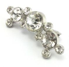 Vintage Rhinestone Silver Tone Bar Brooch Pin Jewelry