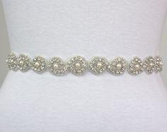CARINA - Bridal Crystal Rhinestone Sash, Rhinestone Wedding Sash, Rhinestone And Pearls Beaded Bridal Belt, Wedding Belts. $68.00, via Etsy.