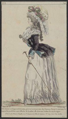 Gallerie des Modes et Costumes Francaise, 1787: Jolie femme en baigneuse du matin, pierrot à revers avec des boutons d'acier à carreaux, le juppon de mousseline unie, falbalat de la même elle tient une badine de cep de vigne.