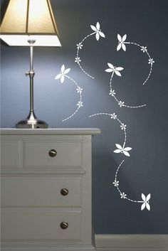 Wall Decals Set of 6 Dragonflies with flowers