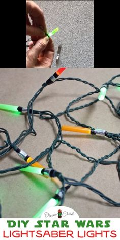 Make your own DIY Star Wars Lights for your Christmas tree or a fun geek party idea. Star Wars Lightsaber lights can be customized for the dark side, light side or any colors you want making them fun for the holidays, a Star Wars birthday party or StarWars baby shower. Star Wars Lightsaber | Christmas Lights in the bedroom | Christmas Lights on trees | Star Wars Party | Star Wars Craft | Star Wars Room | Star Wars Bedroom