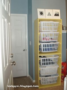 DIY Laundry dresser, stack one on top of the other or side by side = perfect storage for the laundry room. Would be great for folded clean laundry or individuals sorting Laundry Sorter, Laundry Room Organization, Laundry Storage, Locker Storage, Laundry Cupboard, Laundry Organizer, Ikea, Cool House Designs, Getting Organized
