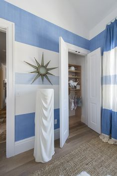 The Lady's Dressing Room by Michelle Smith.  A fresh take on stripes- horizontal  shades of blue and white with the pattern continuing onto the draperies.  Love it.