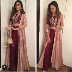 KRYSTLE DSOUZA Fashion Indian Party Wear, Indian Wedding Outfits, Indian Outfits, Indian Wear, Long Jacket Dresses, Shrug For Dresses, Pakistani Dresses, Indian Dresses, Shadi Dresses