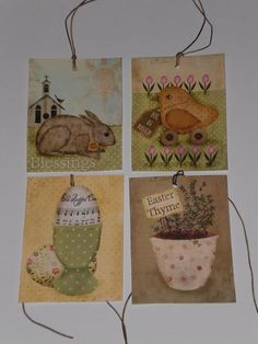 8 Primitive Rustic Easter Chick Bunny Hang Tags Gift Ties Ornies Party Favors #Handmade #Easter