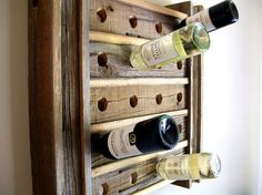 Wine Rack Riddling Rack / Rustic / Reclaimed / Barn Wood from TheBarnYardShop on Etsy. Saved to For the house. Wine Bottle Rack, Bottle Display, Wine Bottle Crafts, Wine Racks, Barn Wood Projects, Reclaimed Wood Projects, Reclaimed Barn Wood, Pallet Projects, Diy Projects