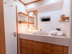 ANINI | Luxury yacht charters | Catamaran for charter | Sunreef Yachts Charter Power Boats, Luxury Yachts, Catamaran, Double Vanity, Sunreef Yachts, Interior Ideas, Bathroom, Water, Washroom