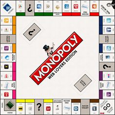 "Monopoly for Web Lovers | Make Some Design is behind this wonderfully creative Web Lovers Edition of Monopoly, featuring the most prominent companies on the Internet as properties. The clever substitutions made for the features of the board are especially entertaining. Instead of the ""Go to Jail"" option, it is ""Go to the Real World"" and ""Community Chest"" is ""Silicon Valley."" 