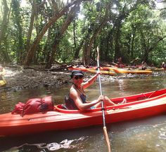 Kayaking the Wailua River in Kauai - What an active adventure!  I love this pic!  She looks so happy - like i was on my adventure on this same beautiful river.  Oh, Kauai on the Wailua River is calling again......