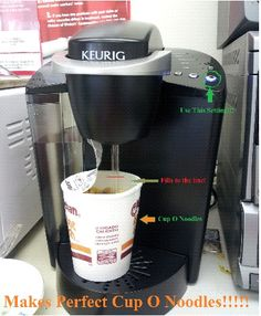 makes perfect cup o noodles with the Keurig!!