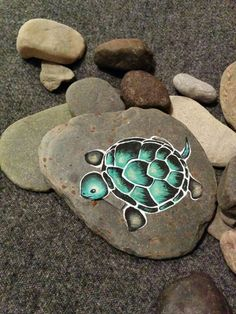 Turtle painted on rock. #medicineanimal #support #ground on sale soon www.nancyisabellelabrie.com