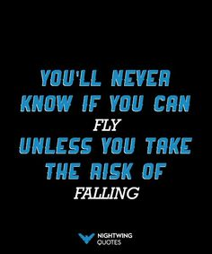 Whenever someone's asked what power they wish they had, flying is always at the top of the list. But I have to admit, I've learned to love falling too. -Nightwing
