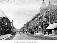 Dunlop Street, Barrie - Looking West (B&W)