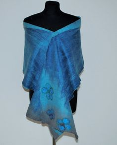 Merino Wool Shawl Blanket Scarf for Women Winter by GraceBits