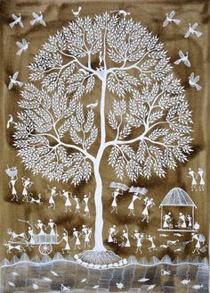Warli folk painting from India Contemporary Warli, tribal Tree Of Life Artwork, Tree Of Life Painting, Tree Art, Madhubani Art, Madhubani Painting, Art And Illustration, Art Illustrations, Art Indien, Worli Painting