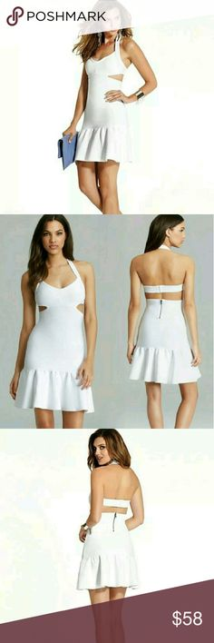 Guess White Mirage Bandage Cutout Dress XXS Daring, playful and of course completely sexy, this showstopping dress is the latest object of our desire. Its bandage detail, modern cutouts and flirty ruffled hem bring extra edge to this statement-making piece.  Halter sweater-knit dress. V-neck. Sleeveless. Allover bandage construction. Cutout detail at sides. Ruffle hem. Exposed silver-tone zipper and hook-and-eye closures at back *Please be advised the dress has been stamped irregular to…