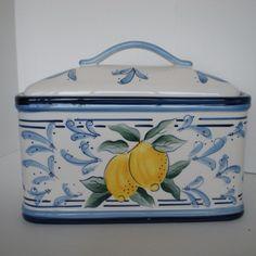 French Style Bread Box Cookie Jar Inspirado Seattle Biscotti Yellow Lemon Blue Ebay Cookie Jars Cookie Jars Vintage Antique Cookie Jar