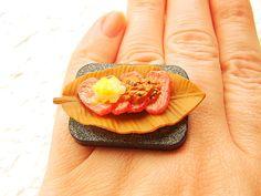 Food Ring Kawaii Meat Yakiniku Miniature Food by SouZouCreations, $10.00