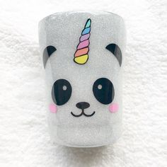 10oz Panda Unicorn Tumbler! $25, 1 available This still needs one more layer so if you want it customized with a name on the other side then make sure to claim it tonight before I do the final layer. • • #glitter #pandacorn #panda #unicorn #tumbler #glittertumbler #glittertumblers #shop #shopsmall #shophandmade #etsyseller #etsyshop Glitter Tumblers, Glitter Cups, Kids Tumbler, Tumbler Cups, Diy Mugs, Yeti Cup, Custom Cups, Cricut Creations, Travel Mugs