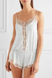 """""""Gently rippling ocean waves"""" inspired the scalloped striped lace that frames Eberjey's 'Encajes' playsuit. This printed piece is cut from soft stretch-modal jersey and is elasticated at the hips for the most comfortable fit. Wear yours to sleep or lounge."""