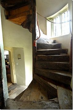 Centuries old wood staircase in historical estate, UK – amazing!